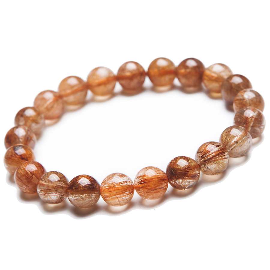 9mm Natural Genuine Brazilian Copper Hair Rutilated Quartz Crystal Round Beads Jewelry Stretch Bracelets For Women Femme 9mm genuine sugilite bracelets for female women natural stone round beads crystal jewelry bracelet