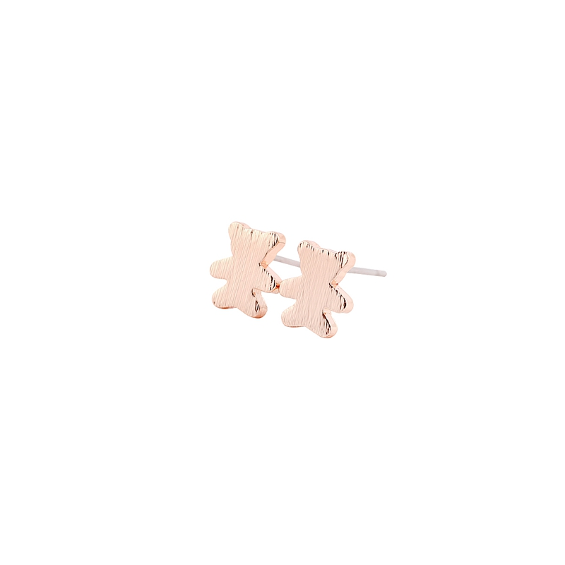 1Pair Teddy Bear Earrings Cute Animal Brincos Jewellery Silver Gold Pink Gold-color Metal Earring For Women Gift