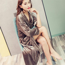 Luxury Bathrobe Nightwear Sleep-Dress Gown-Set Female Sexy Women Home Gold Ma394
