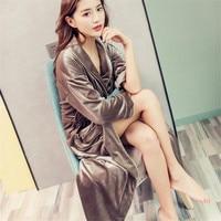 Gold Velvet Robe Gown Set Sexy Women Nightwear Luxury Bathrobe Home Dress Sleepwear Female Sleep Dress Ma394