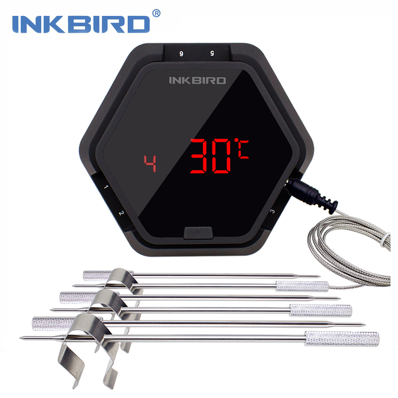 Inkbird IBT-6X Digital Food Cooking Bluetooth Wireless Meat BBQ Thermometer With Six Probes(Food Probes and Oven Probe) Free APP цены