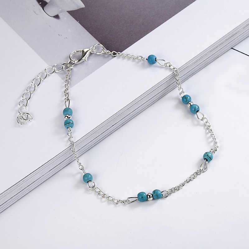 Unikalne niebieskie koraliki srebrny łańcuszek Anklet pamiątkowa bransoletka na kostkę biżuteria na stopy dla kobiet sprzedaż hurtowa nowe świetnie sprzedające się NS235