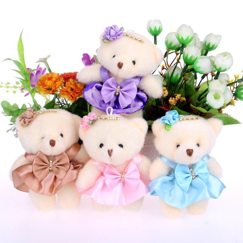For Christmas Gift 12CM 10pcs/lot pp cotton kid toys plush doll mini small teddy bear flower bouquets bear for wedding home doll teddy bear