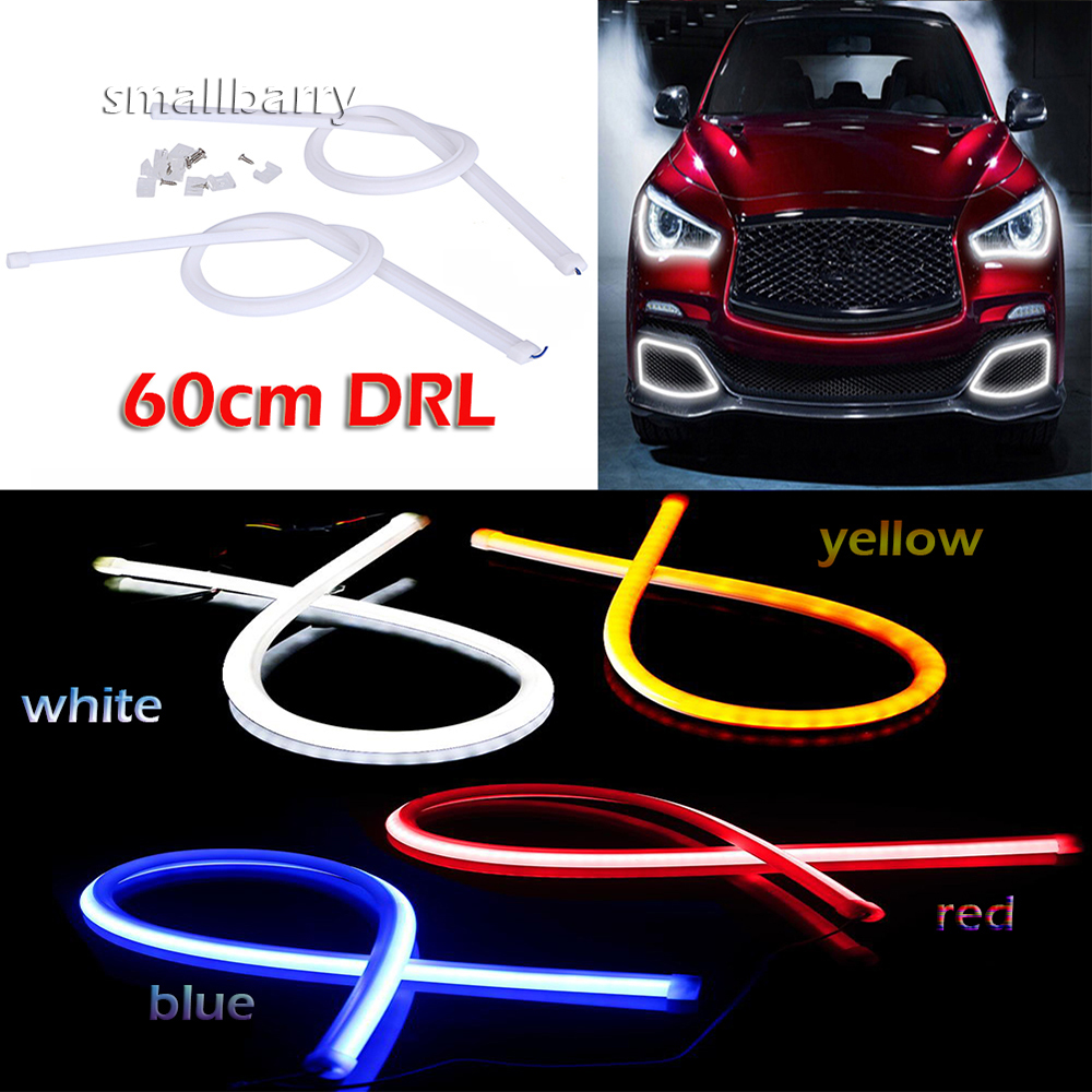 2piece 60cm Daytime Running Light Universal Flexible Soft Tube Guide Car LED Strip White DRL and Yellow Turn Signal Light jurus 30cm flexible led tube strip white yellow soft daytime running light drl headlamp car styling parking lamps promotion