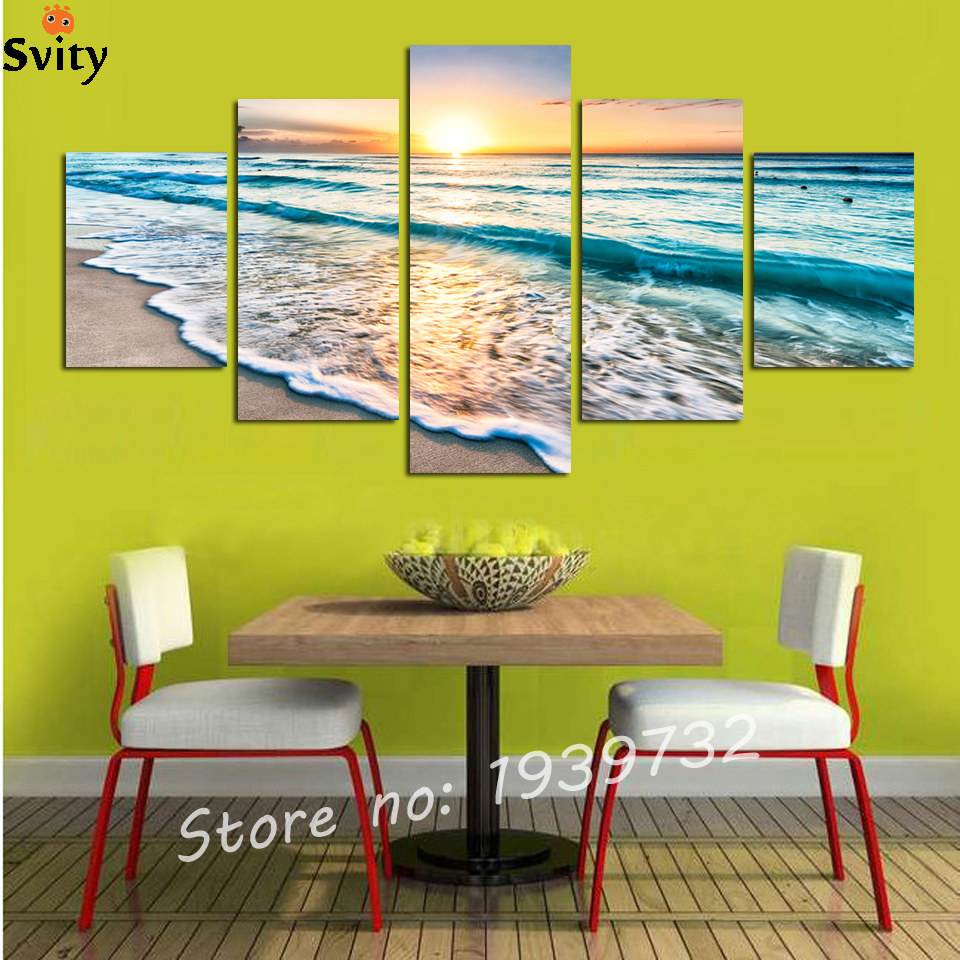 Dropshipping HD Printed 5 piece canvas art beach pictures seascape ...