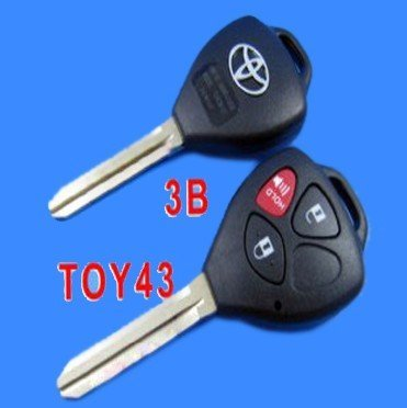 Toyota Camry Remote Key Shell 3 Button Reversal (Band Red Button)-lot of 10