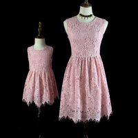 Brand children pink lace women kids girl dress family look cloth mom girls formal dress mother and daughter Summer party dresses