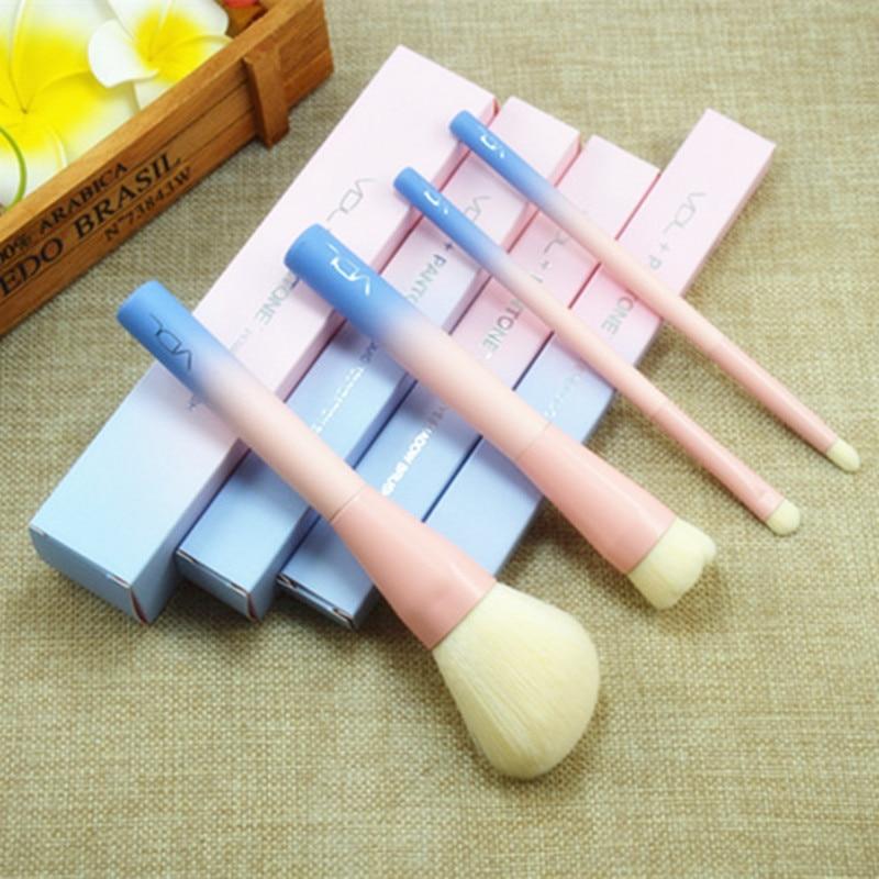 2017 hot 4pcs cosmetic brush Gradient Color Pink Powder foundation Makeup Brushes pantone Make up Brush Set with retail Box