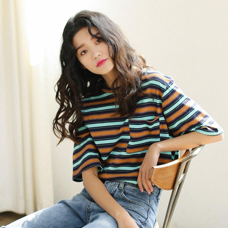 2019 primavera y verano con una nueva ronda cuello bolsillo del color de la raya de La cinco-punto camiseta mangas las mujeres bf camisa de algodón marea