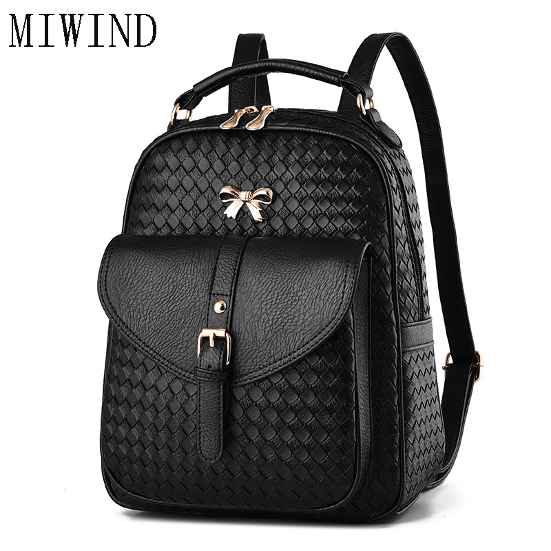 2017 NEW Vintage Women Backpack Stylish Daypack Youth Leather School Shoulder Bagpack Female Casual Lady Bag