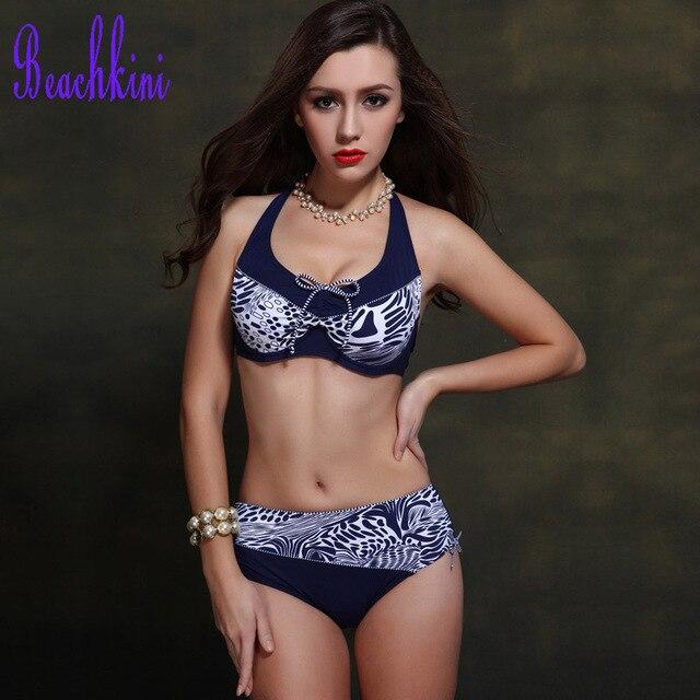 d3d2d59148f8f 2019 swimwear women soft large bra bikini set push up vintage plus size  high waist swimsuit