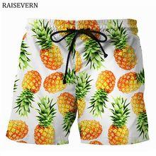 RAISEVERN 2018 New Pineapple Men Shorts Casual Cool Summer 3D Print Men Elastic Waist Beach Shorts Male Fitness Trousers Shorts