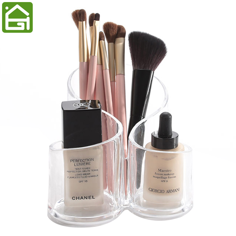 3 compartment clear acrylic makeup brush holder office pencil organizer cosmetic lipbrush. Black Bedroom Furniture Sets. Home Design Ideas