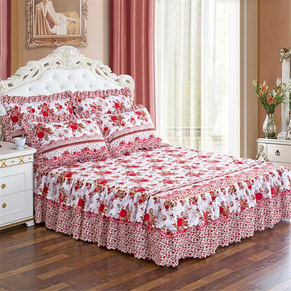 150*200cm Pastoral Bed Cover Solid Bed Cover Sheets Bed Cotton Quilted Lace Bedspread Lace Bed Sheet Support Drop Shipping
