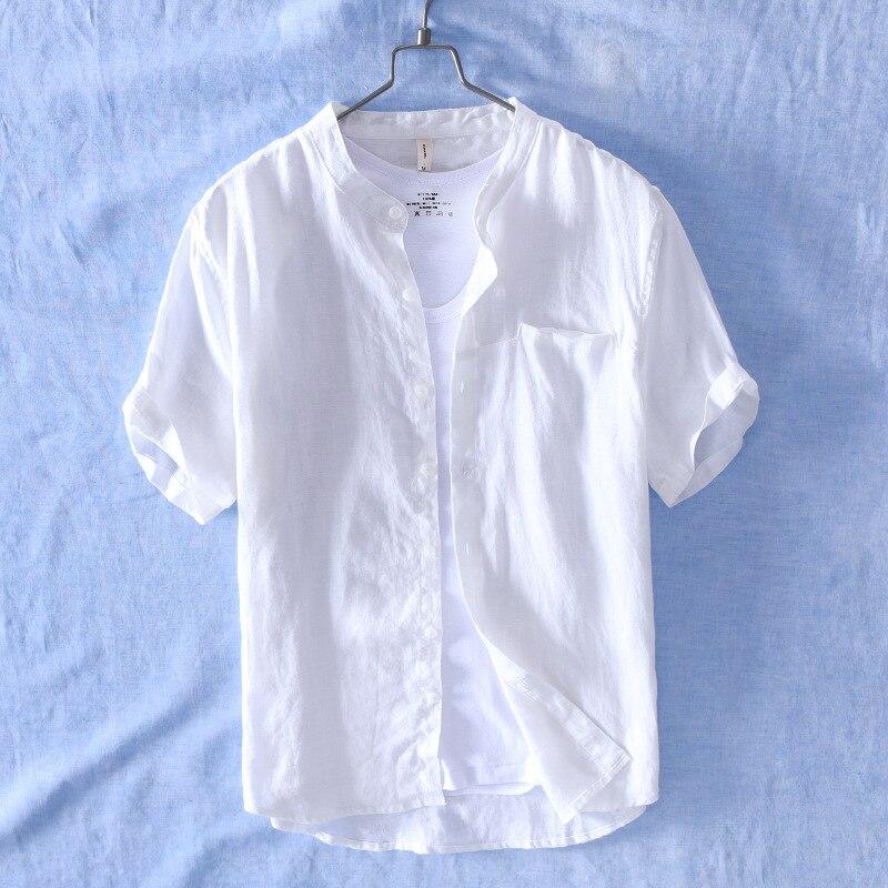 HOO 2020 Men's Short Sleeve Shirt Linen Comfortable Breathable Collar Shirt In Summer