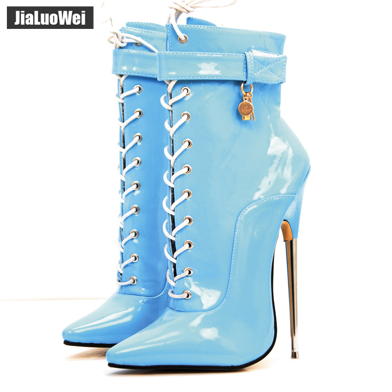 все цены на jialuowei New Arrive 18CM extreme High Heel Boots Lace-up zipper Lace-up Pointed Toe Sexy Fetish Women Ankle Boots Plus Size