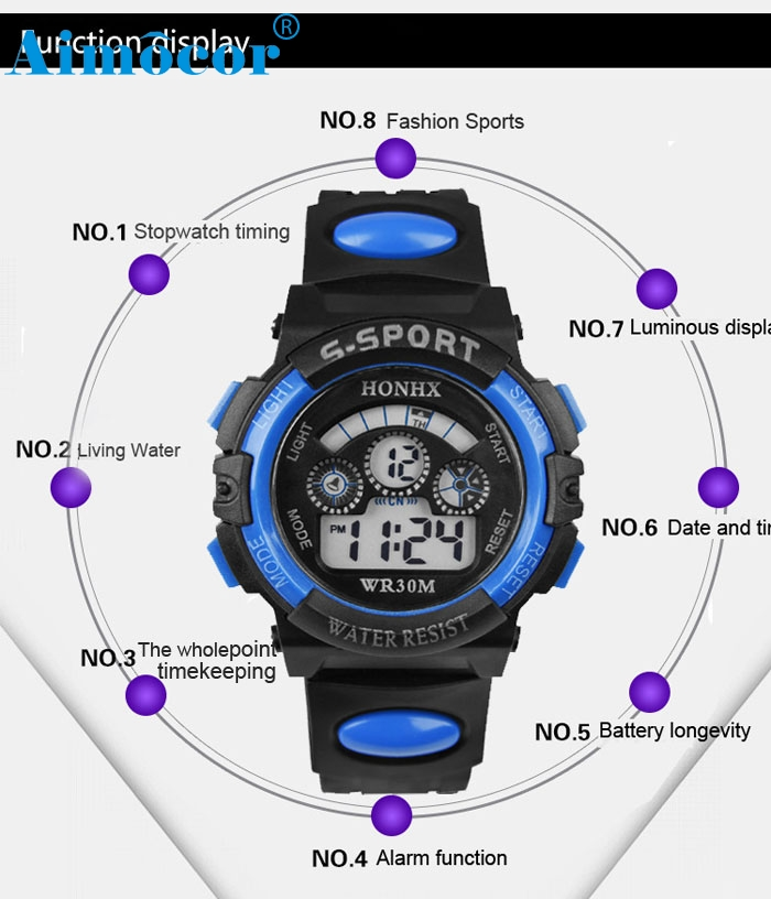 2016  Quartz Alarm Date Sports Wrist Watch New Fashion Waterproof Children Boy Digital LED Watch   Z504 5Down new fashion design unisex sport watch silicone multi purpose date time electronic wrist calculator boys girls children watch