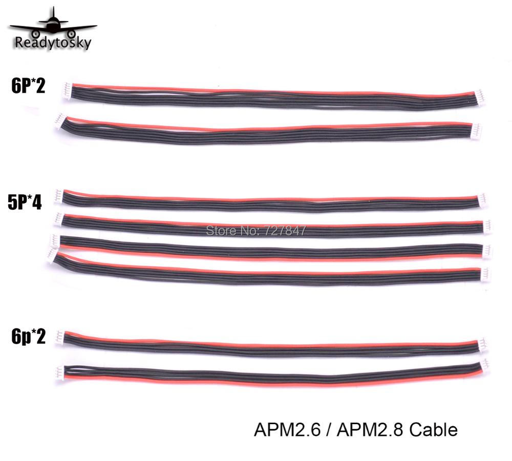 8pcs APM 2.6 / APM 2.8 Flight Control Cable (DF13 4 / 5 / 6 Position Connector 20 cm) 4pin & 5pin & 6pin