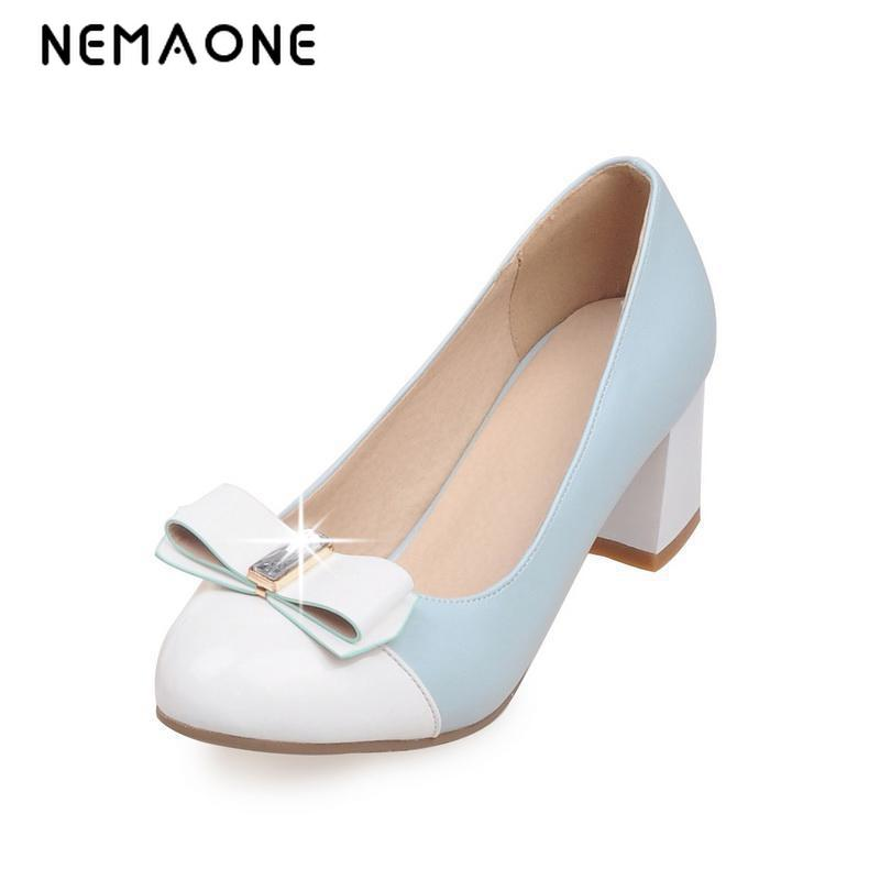 NEMAONE 2017 new High Heels Patent Leather Pumps Sexy Wedding Shoes Woman Slip On Low Heels Platform Women Shoes new 2017 sexy point toe patent leahter high heels pumps shoes sandals pr1987 woman s red sandals heels shoes wedding shoes