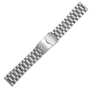 Image 5 - Браслет из нержавеющей стали для часов, спортивный сменный металлический ремешок с плоской застежкой, двойная кнопка, 20 мм