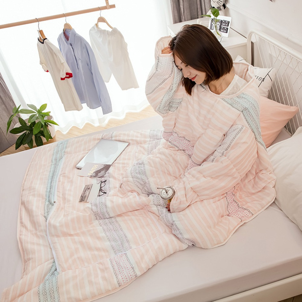 Winter Lazy Quilt With Sleeves Thickened Washed Warmer Pillo