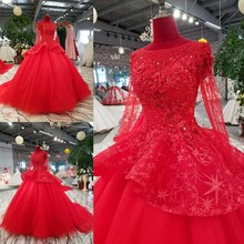 2018 Red Bridal Court Train Long Sleeve Wedding Dress