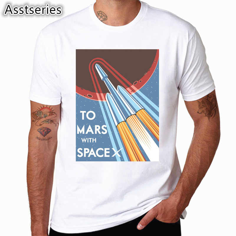SpaceX T shirts Men Space X Logo Men's T-shirt Popular Custom Short Sleeve Occupy Mars Tshirt HCP4538