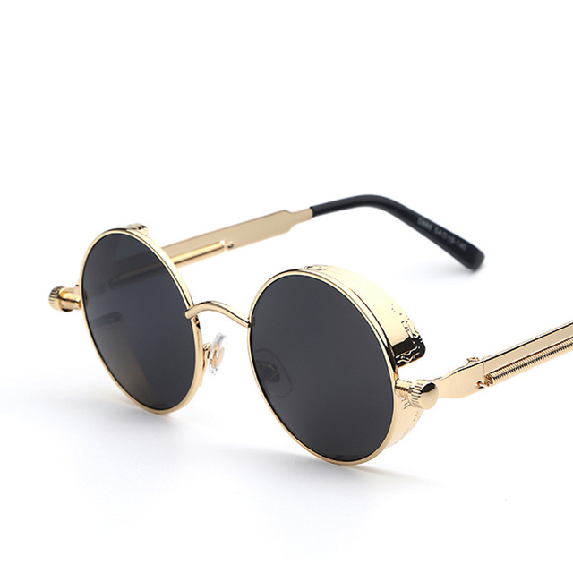 Gothic Steampunk Men Women Coating Mirrored Sunglasses Round Circle Retro Vintage