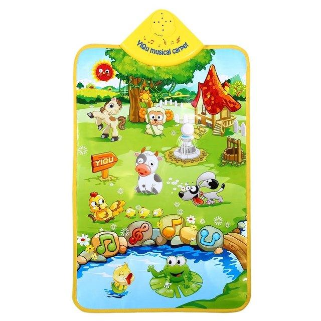 TOP Vendendo Crianças Tapete De Segurança Multifunções Ginásio Tapete de Som de Música Animal de Fazenda Fluência Formação Toy Grande Presente Proteger Bebês