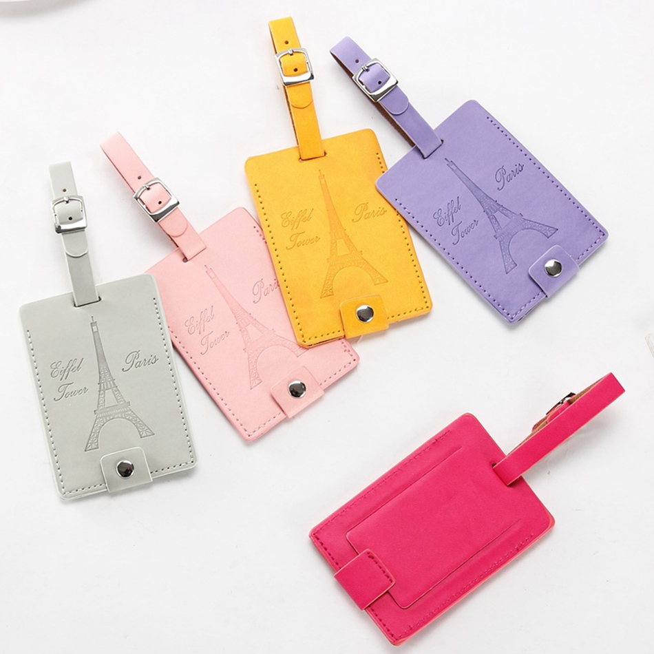 Travel Accessories PU Leather Luggage Tag Creative Eiffel Tower Women Portable Label Suitcase ID Address Holder Baggage Boarding
