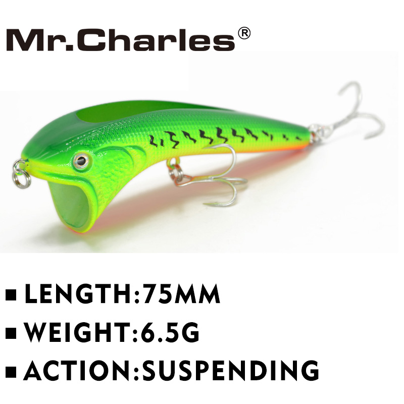 Mr.Charles CN51 fishing lures 75mm 6.5g suspending vib, assorted different colors, Hard Bait