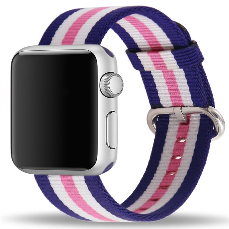 38mm 42mm Sport Nylon Watch Strap For Apple Watch Series 1 2 Stainless Steel Buckle Replacement Watch Band For iWatch Edition 38 42