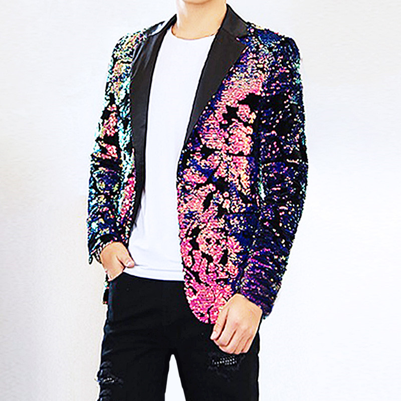 Men Flipping sequins Pink Suit Jackets Glittering paillette Blazers Coat Nightclub Singer Vocal Concert Stage Costume Host Show