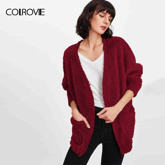 a408337981 COLROVIE Burgundy Pocket Cardigan Christmas Faux Fur Teddy Coat Women 2018  Autumn Office Warm Winter Jacket Elegant Lady Outwear
