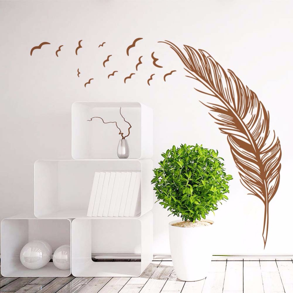 Brown Feathers wall stickers Vinyl DIY Art Wall decals For Living room Bedroom Sofa background wall Study Office Decor Murals
