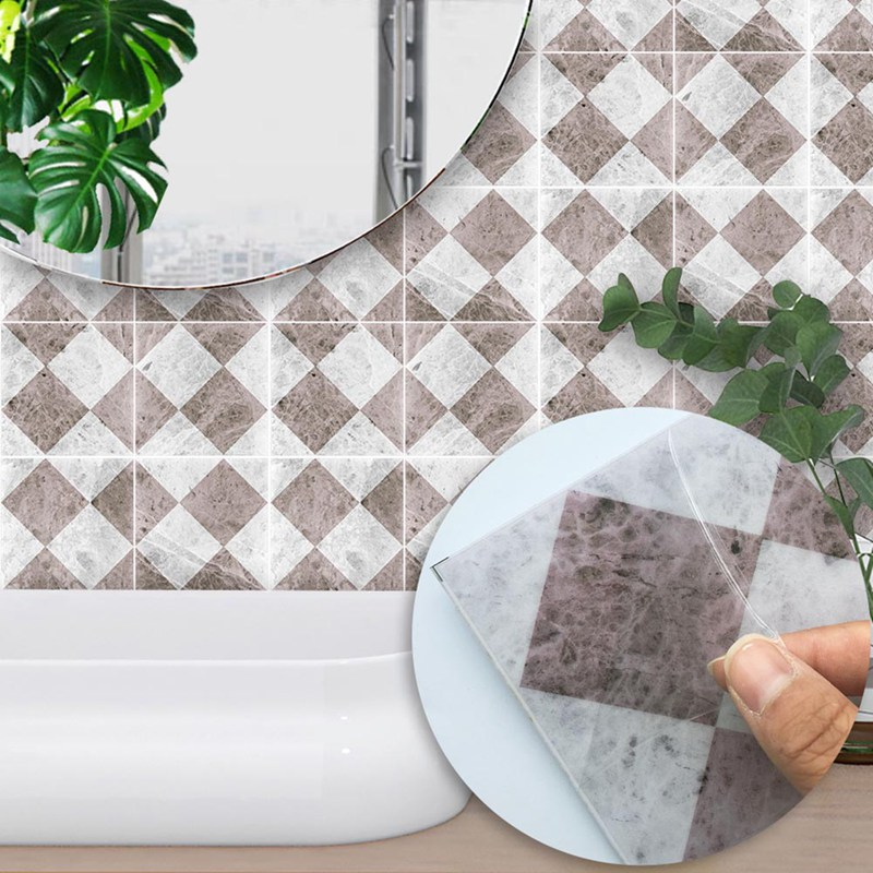10pcs/set Waterproof Self adhesive Easy to Clean Rhombus marble Kitchen bathroom Furniture DIY Tile Sticker 15*15cm/20*20cm