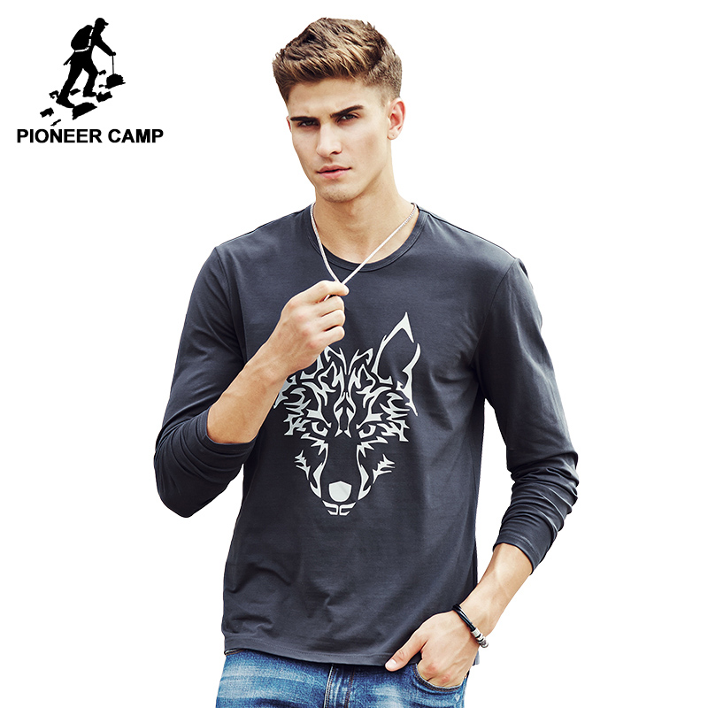 Pioneer Camp 2017 brand new Spring fall Fashion Casual Style Men's Long Sleeve T Shirt Cotton tshirt t-shirt For Male 622145