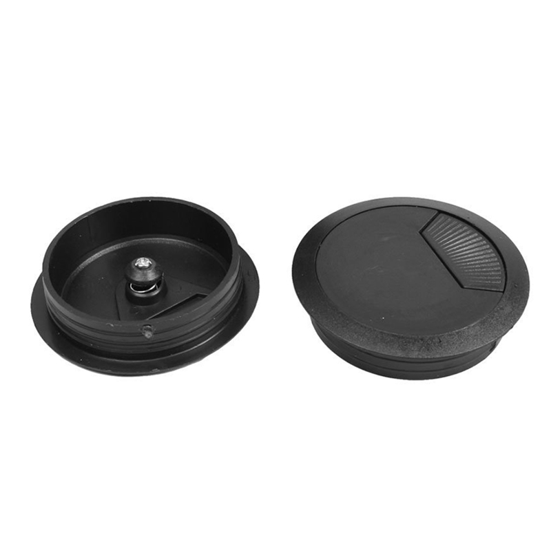 HOT GCZW-5 Pcs Black 70mm Dia Round Plastic Cable Hole Covers for Computer Desk