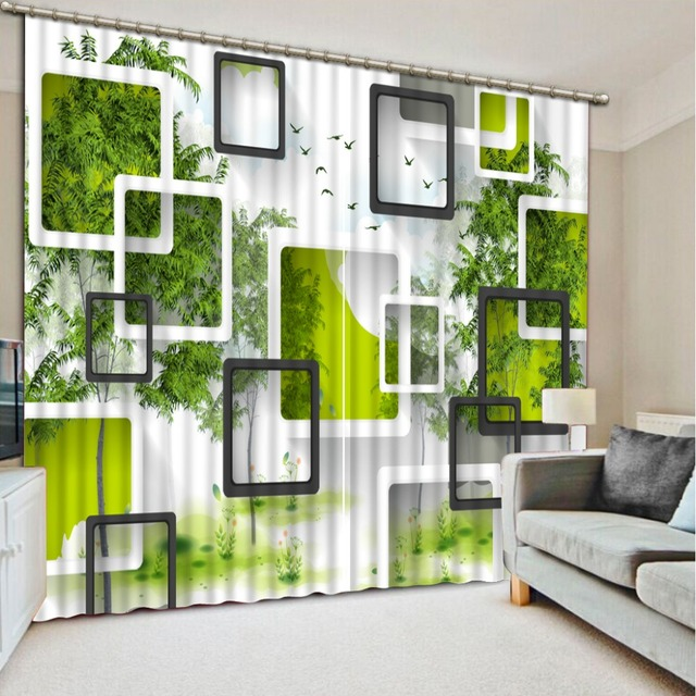Top Classic 3D European Style beautiful window curtains green box ...