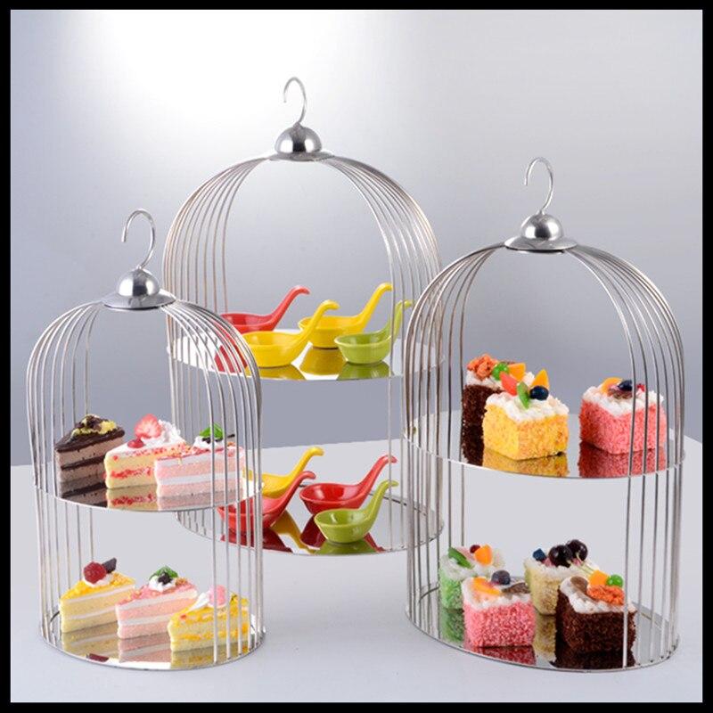 1 pièces Dessert table présentoir cage à oiseaux pâtisserie stand assiette à fruits gâteau repas froid ensemble table Européenne acier inoxydable