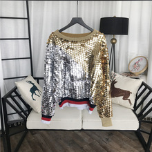 GRUIICEEN new autumn luxury sequin knitting pullovers jumpers streetwear famale patchwork color loos