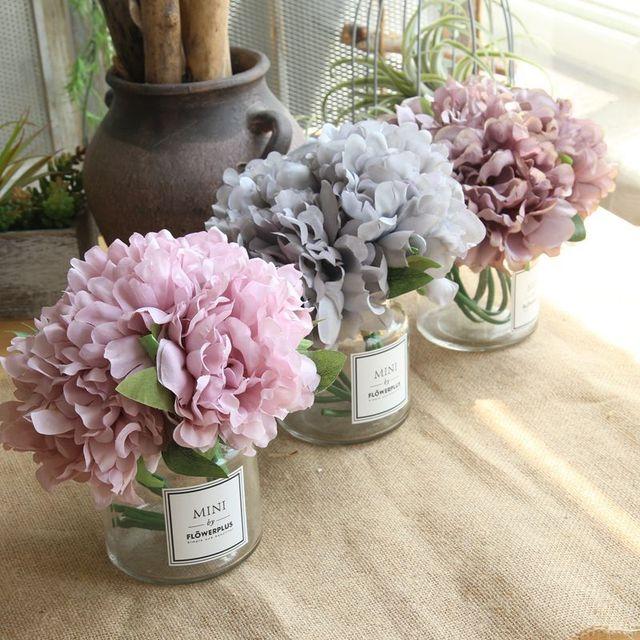 5Pcs/Bundle Cheap Peony Silk Flower for Wedding Decor Artificial Flower Peonies Bouquet Fake Flower for Home Decorative Flower
