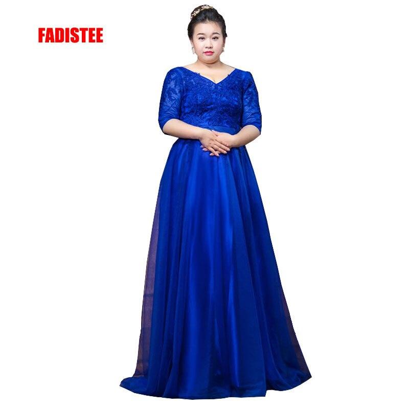 FADISTEE New arrival elegant prom party formal   evening     dresses   Vestido de Festa gown lace V-neck half sleeves long plus size