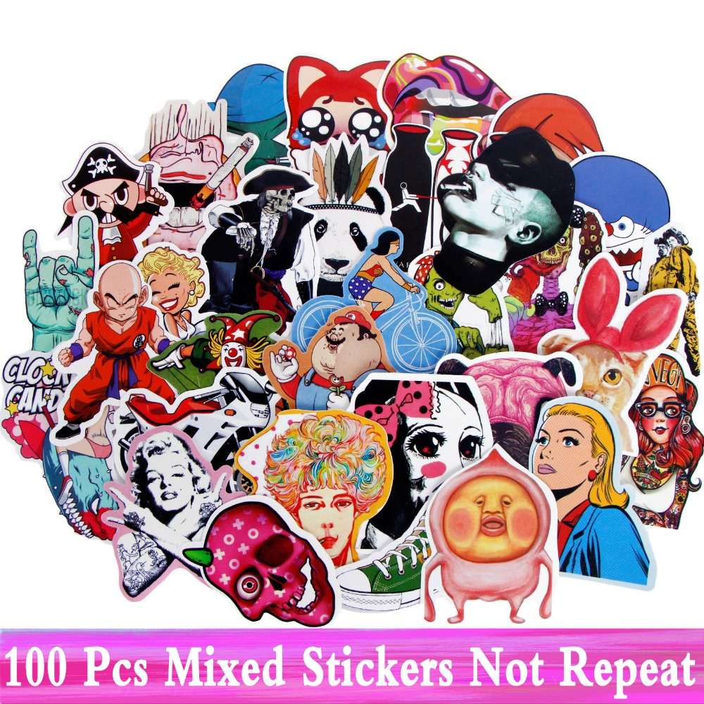 100 Pcs JDM Stickers Not Repeat Mixed Style Doodle Decor Toy Decals Skateboard Motorcycle Laptop Car Fridge Waterproof Sticker