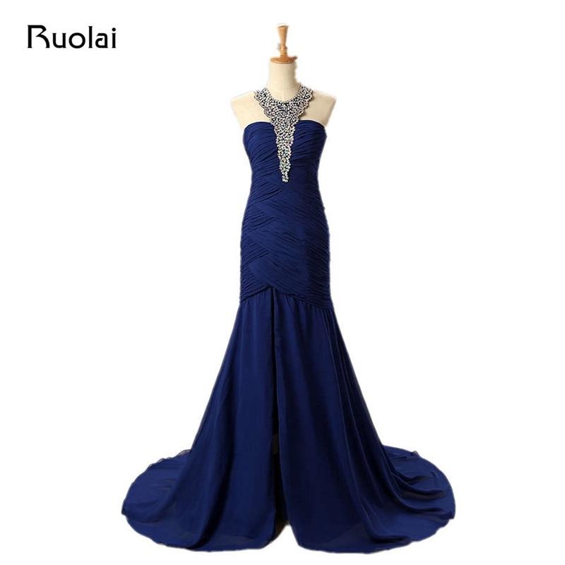 Популярні королівські сині сукні нареченої довгий шифон русалка покоївка плаття довгий гість весілля плаття BM39