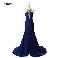 Popular royal blue bridesmaid dresses long chiffon mermaid maid of honor dress long guest wedding party.jpg 200x200