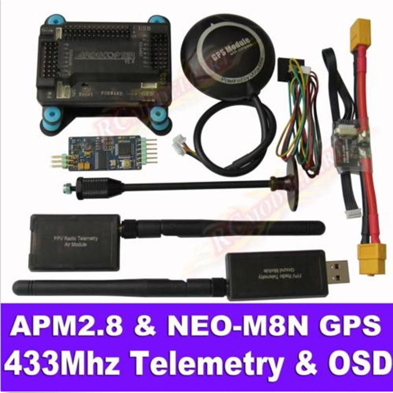 APM2.8 Flight Controller + NEO-M8N GPS, 3DR 433Mhz Telemetry, OSD, Power Module drone upgraded apm2 6 mini apm pro flight controller neo 7n 7n gps power module