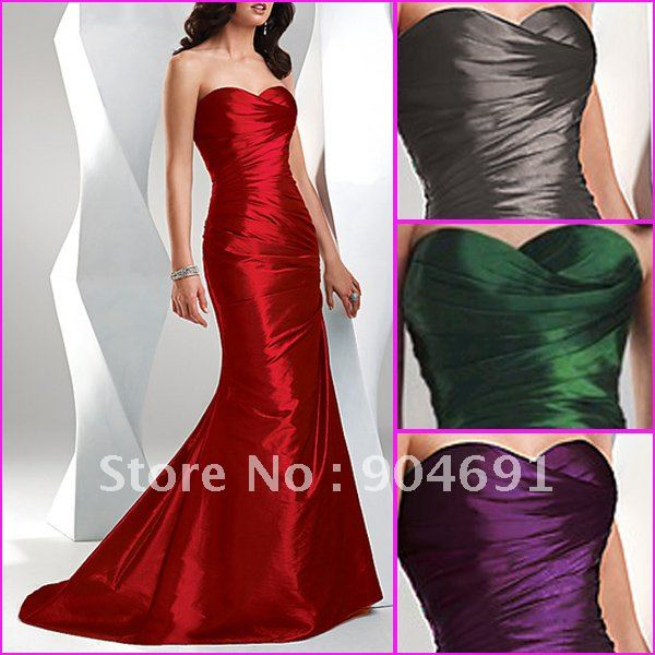 Strapless Green Red Purple Gry Prom Dress Gown Floor Length Chapel ...