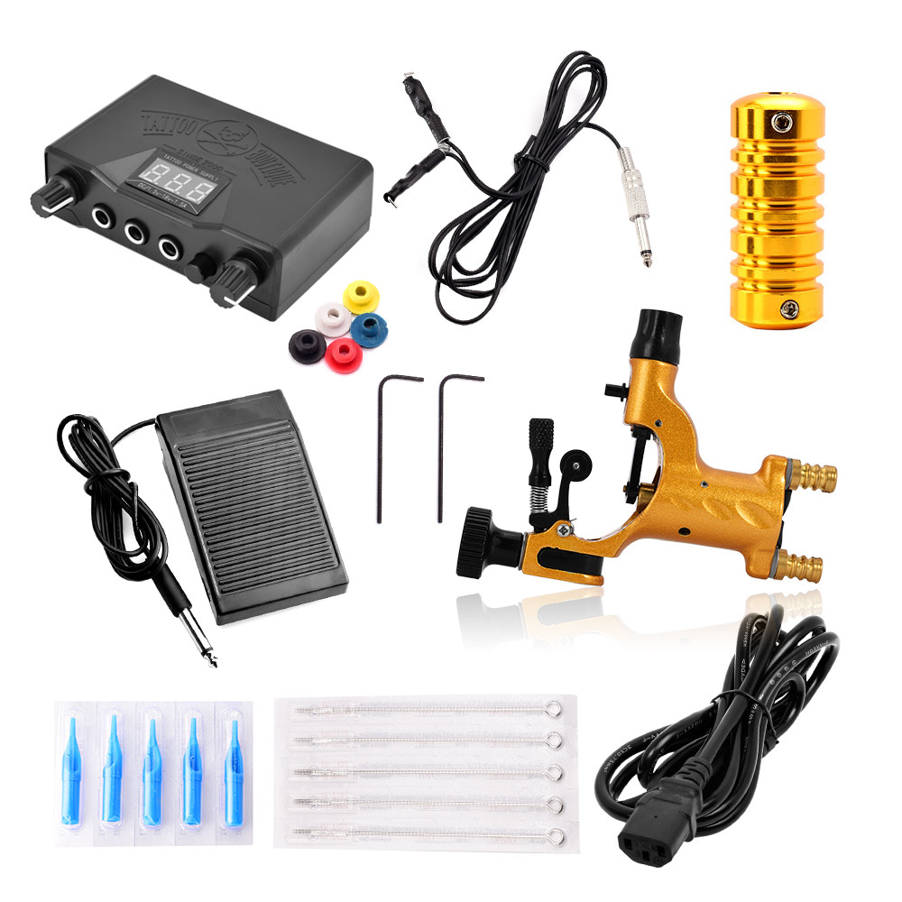 Professional Tattoo Kit  Machine Gun Power Supplies Box Grips Body Arts Supplies Needles Tips Power Supply Complete Tattoo Kits p80 panasonic super high cost complete air cutter torches torch head body straigh machine arc starting 12foot
