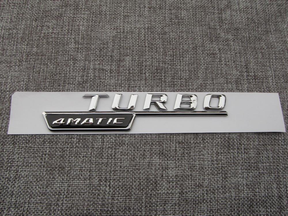 Chrome TURBO 4MATIC Number Letters Trunk Badge Emblem Decal Sticker - Reservdelar och bildelar - Foto 2